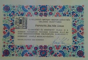 elismeres Popovits Zoltannak